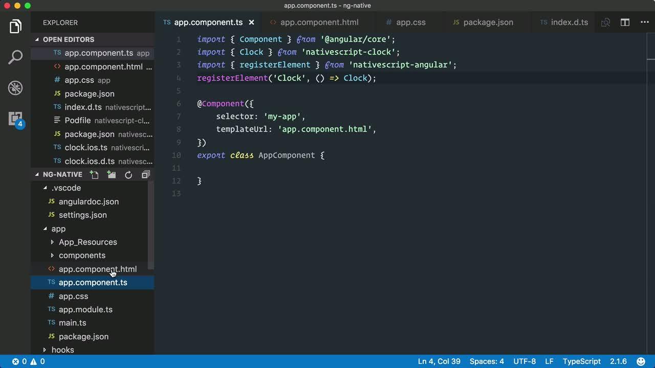 angular2 tutorial about Build a custom NativeScript view component for iOS