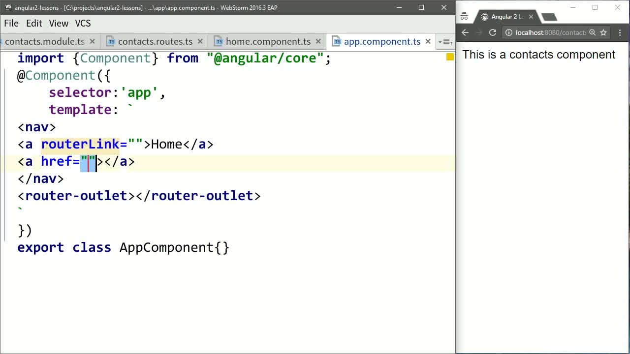angular2 tutorial about Build Angular Navigation with routerLink