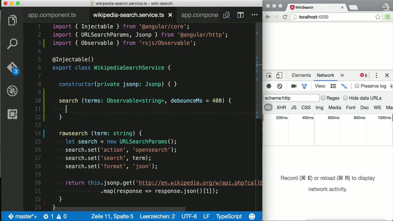 angular2 tutorial about Build fully reactive APIs in Angular 2 with Observables