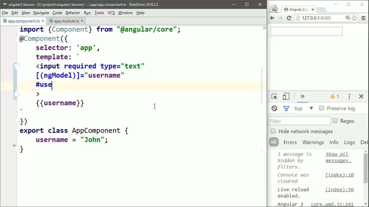 angular2 tutorial about Check ngModel Validation in Angular 2