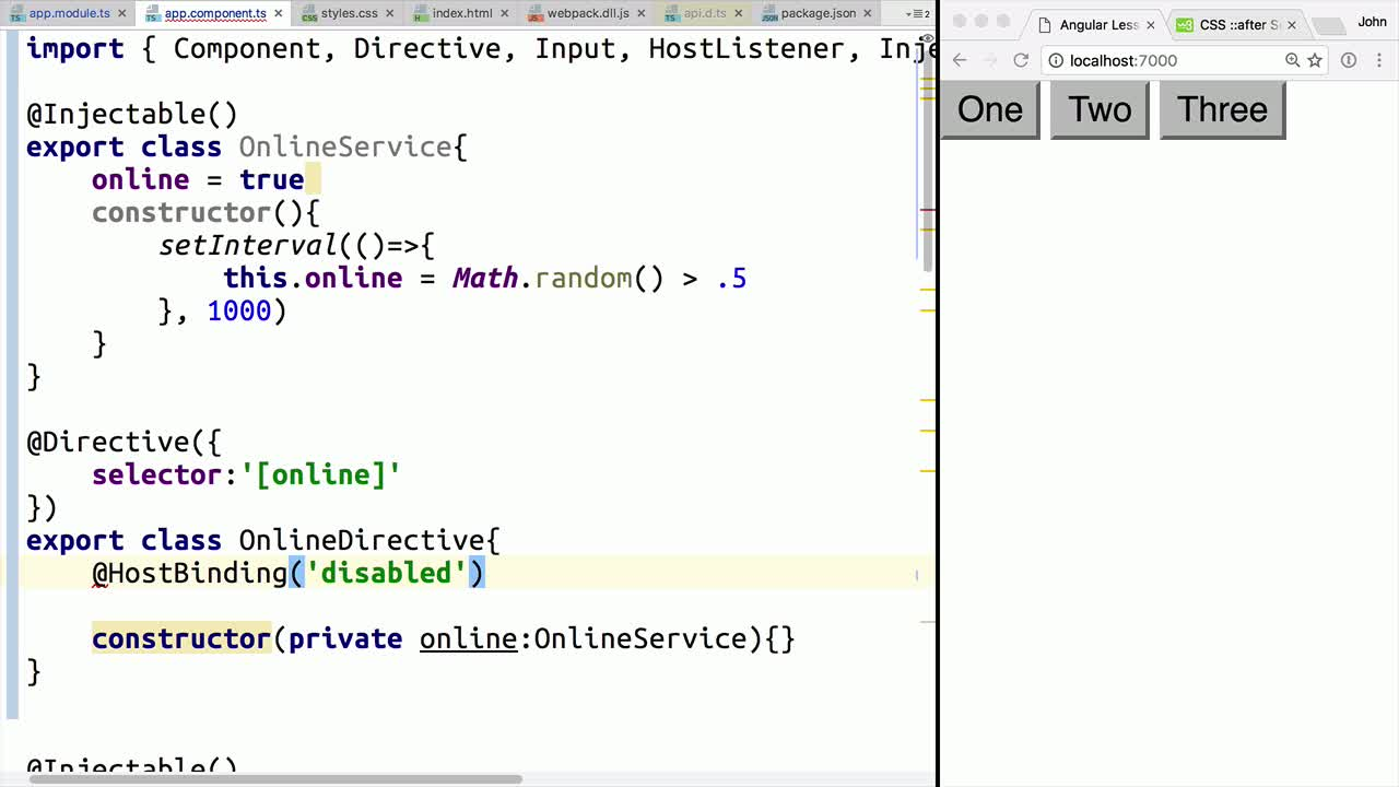 angular2 tutorial about Combine HostBinding with Services in Angular Directives