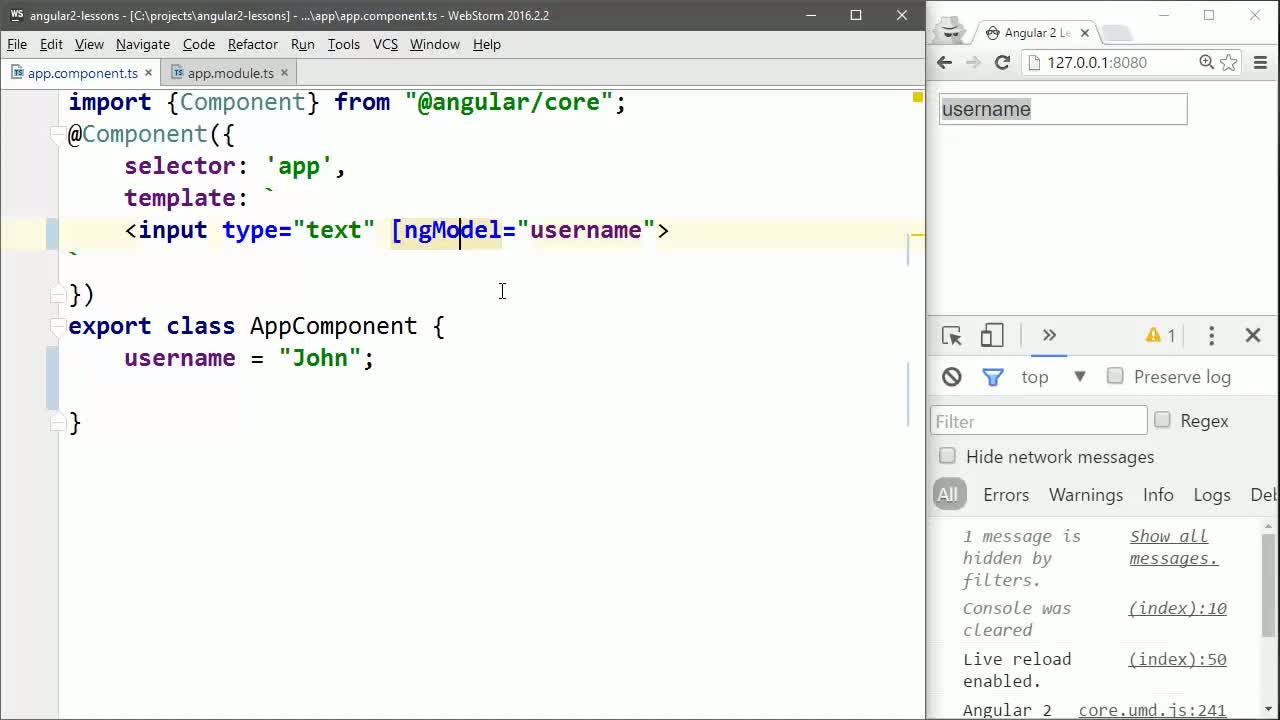 angular2 tutorial about Create a Basic Angular 2 ngModel Input