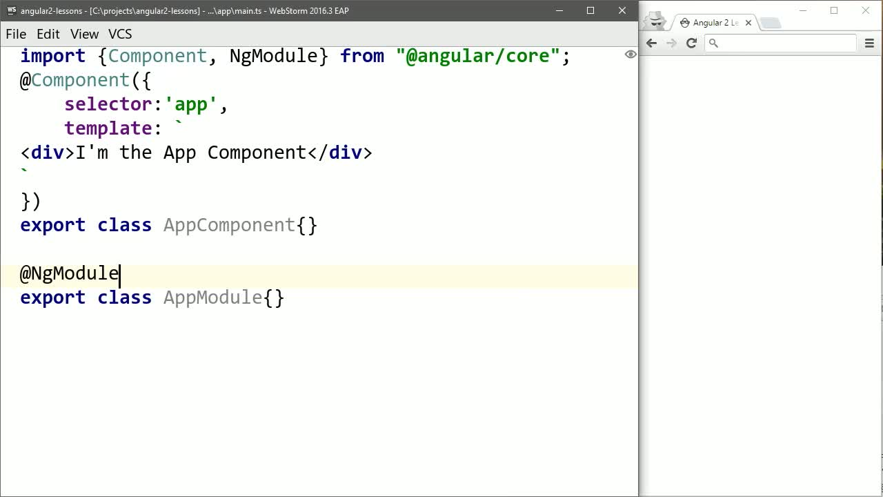 angular tutorial about Create an Angular 2 Hello World Component
