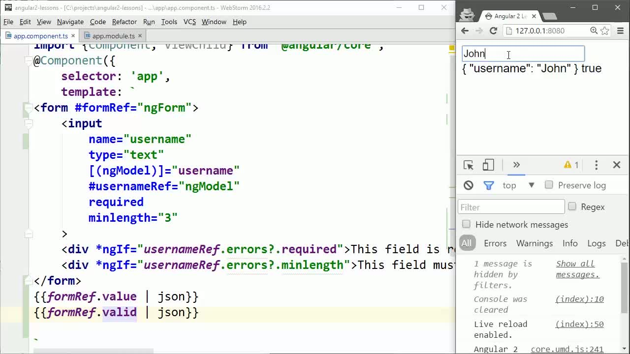 AngularJS tutorial about Create and Submit an Angular 2 Form using ngForm
