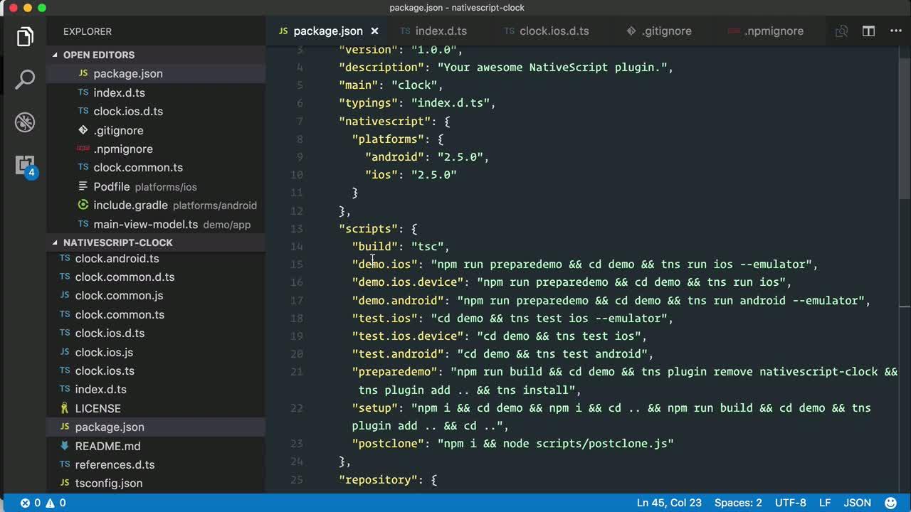 angular2 tutorial about Develop a public NativeScript plugin using the nativescript-plugin-seed