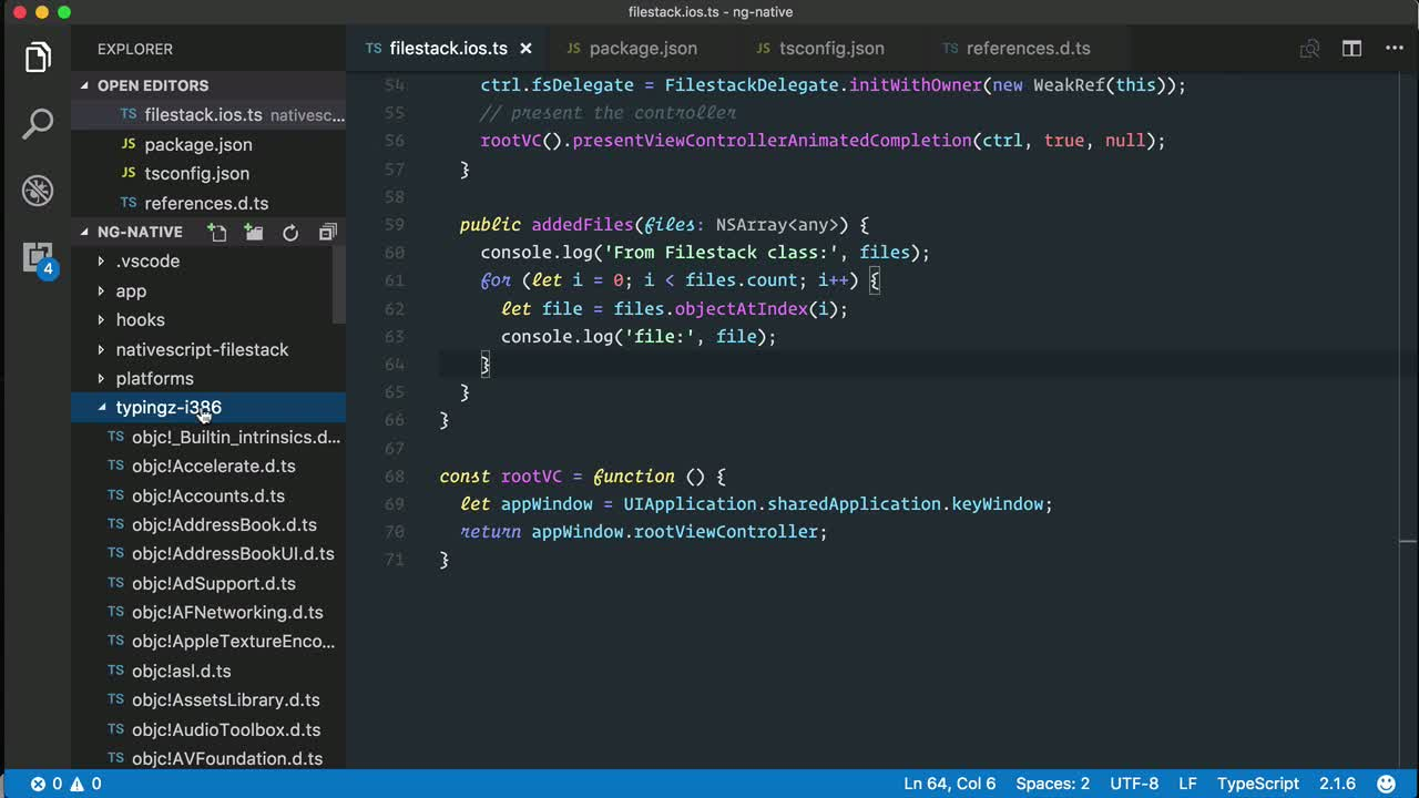 angular2 tutorial about Generate metadata TypeScript declarations for Objective C/Swift libraries on iOS
