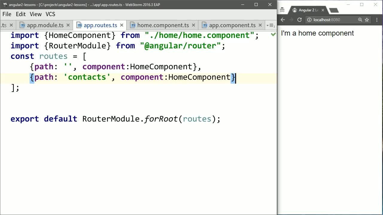 angular2 tutorial about Map a Second Angular Route to a Component