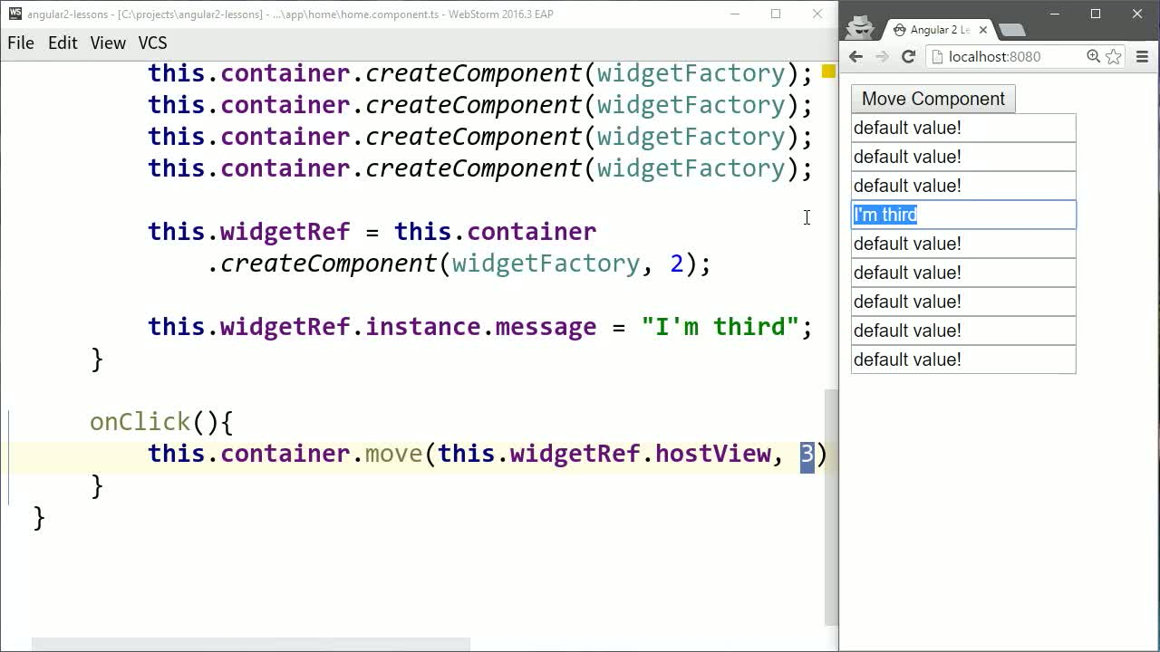 AngularJS tutorial about Move and Delete Angular 2 Components After Creation