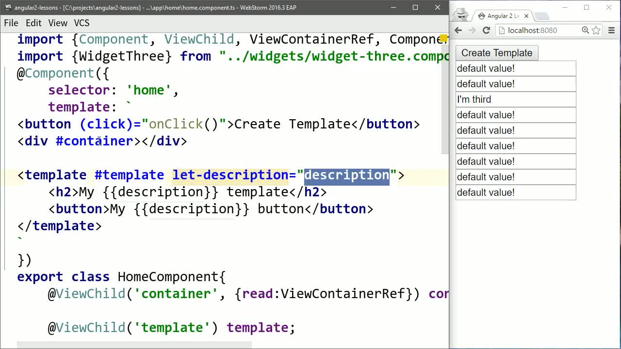 angular2 tutorial about Set Values on Generated Angular 2 Templates with Template Context