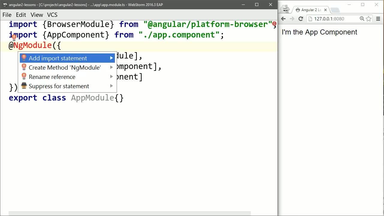 angular2 tutorial about Structure a Basic Angular 2 Application