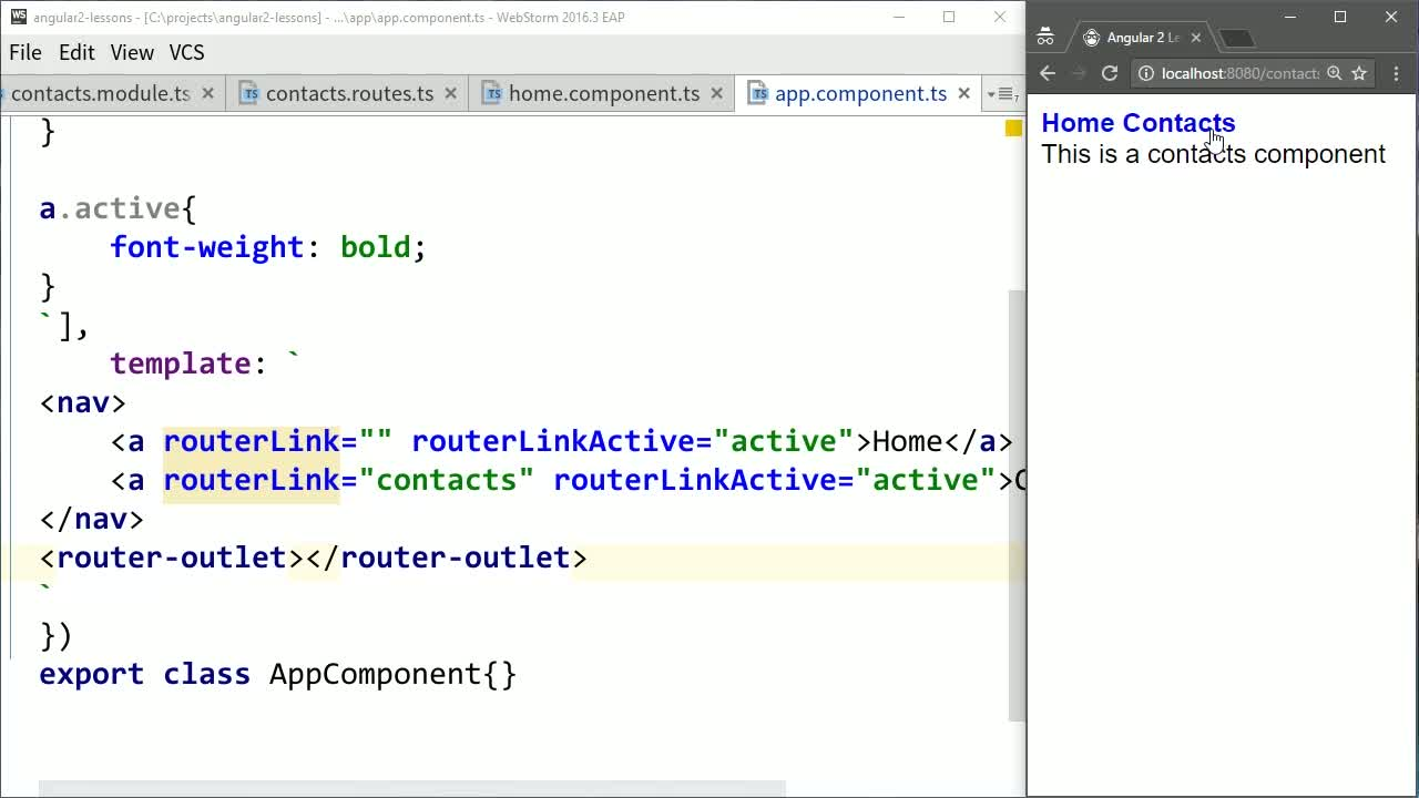 AngularJS tutorial about Style the Active Angular Navigation Element with routerLinkActive