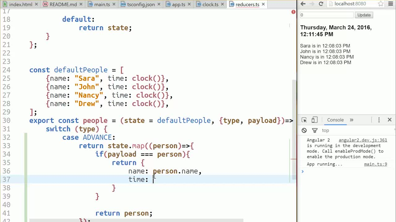 angular2 tutorial about Use a Reducer to Change an Object's Property Inside an Array