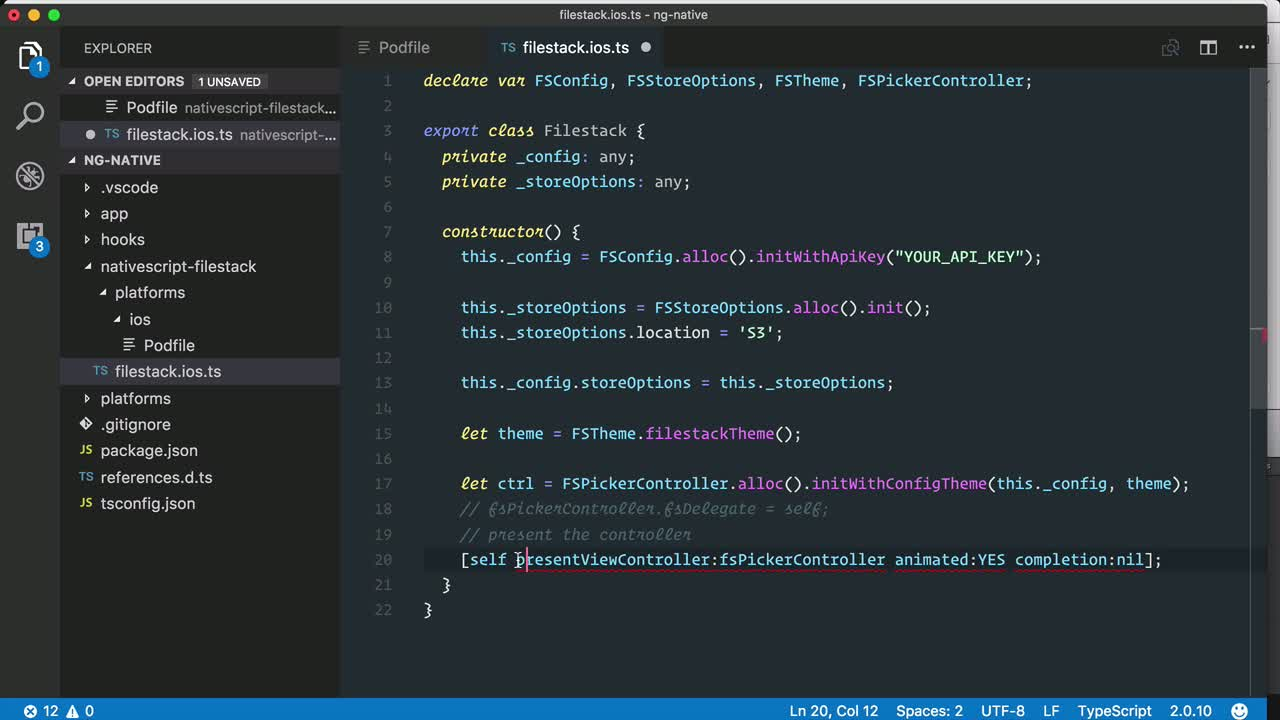 angular2 tutorial about Use an Objective C library in NativeScript for Angular iOS app