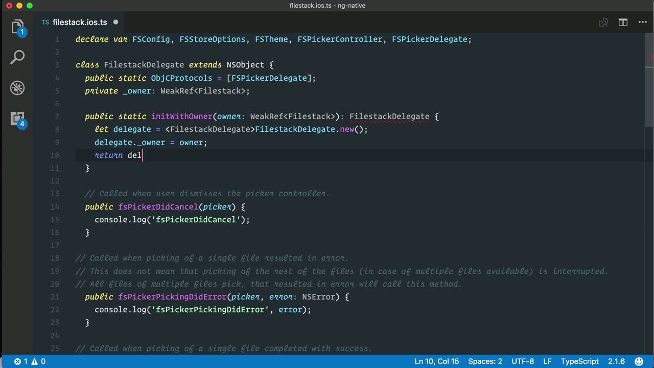 angular2 tutorial about Use Objective C Delegates in NativeScript for Angular iOS apps