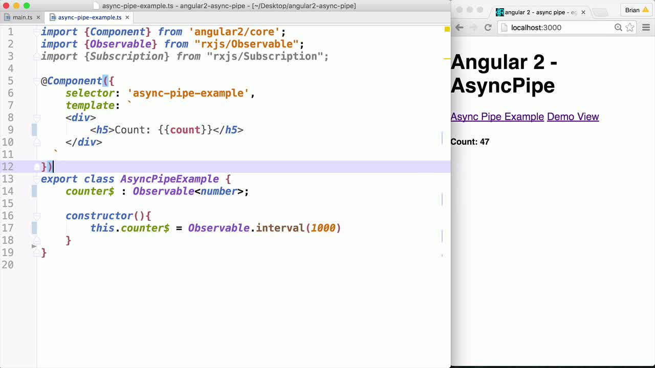 angular tutorial about Using the Async Pipe in Angular 2