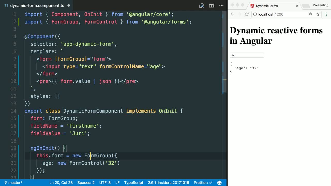 Create a FormControl Dynamically with Reactive Forms in
