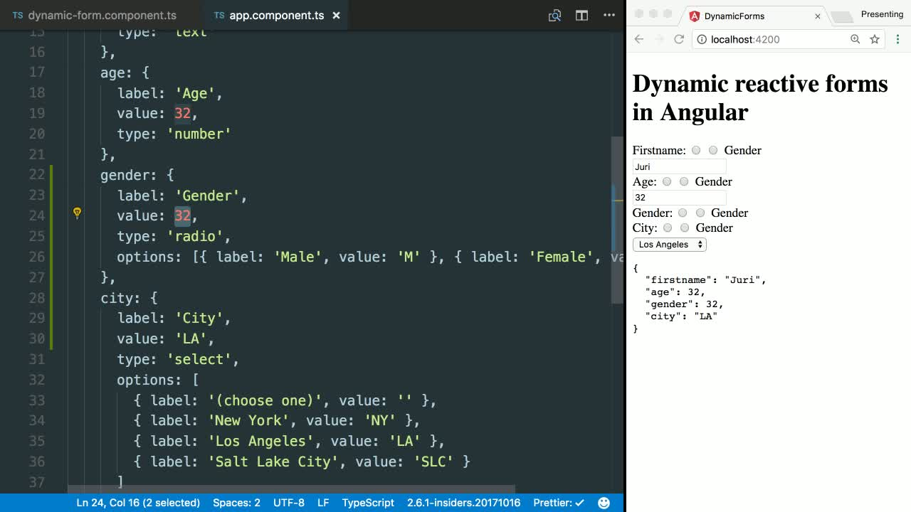 angular tutorial about Create Dynamic Radio Button Lists with Angular's Reactive Forms