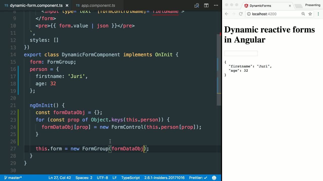 angular tutorial about Dynamically Create Multiple FormControls from a Data Set in Angular
