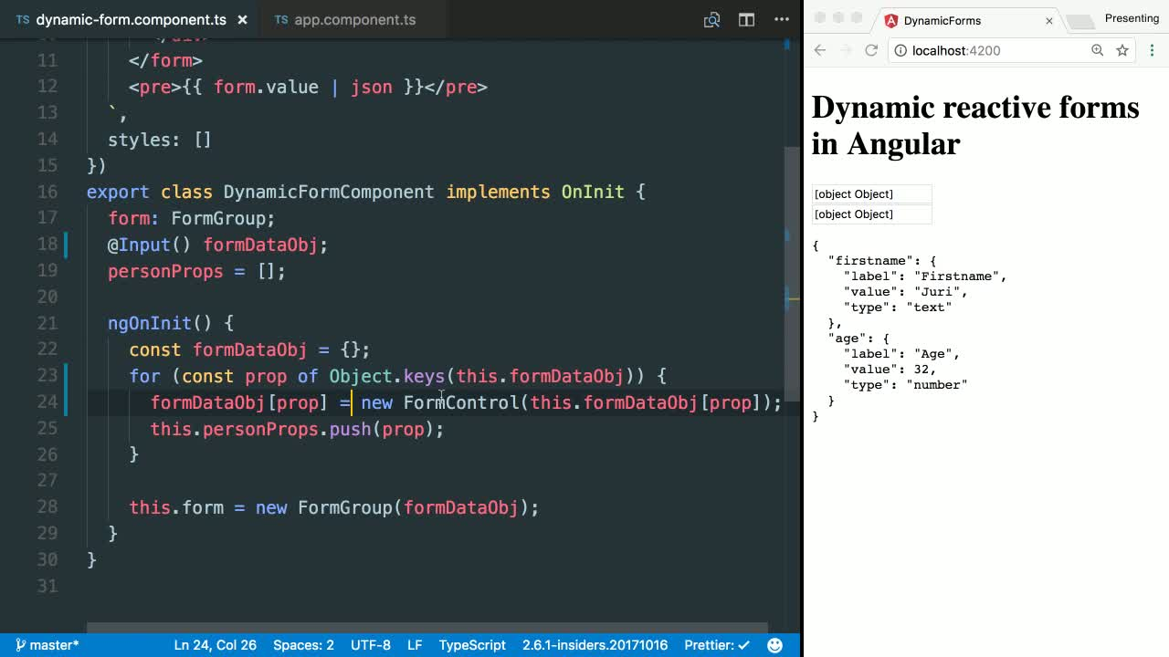 angular tutorial about Dynamically Render Different Form Input Types with Angular's Reactive Forms