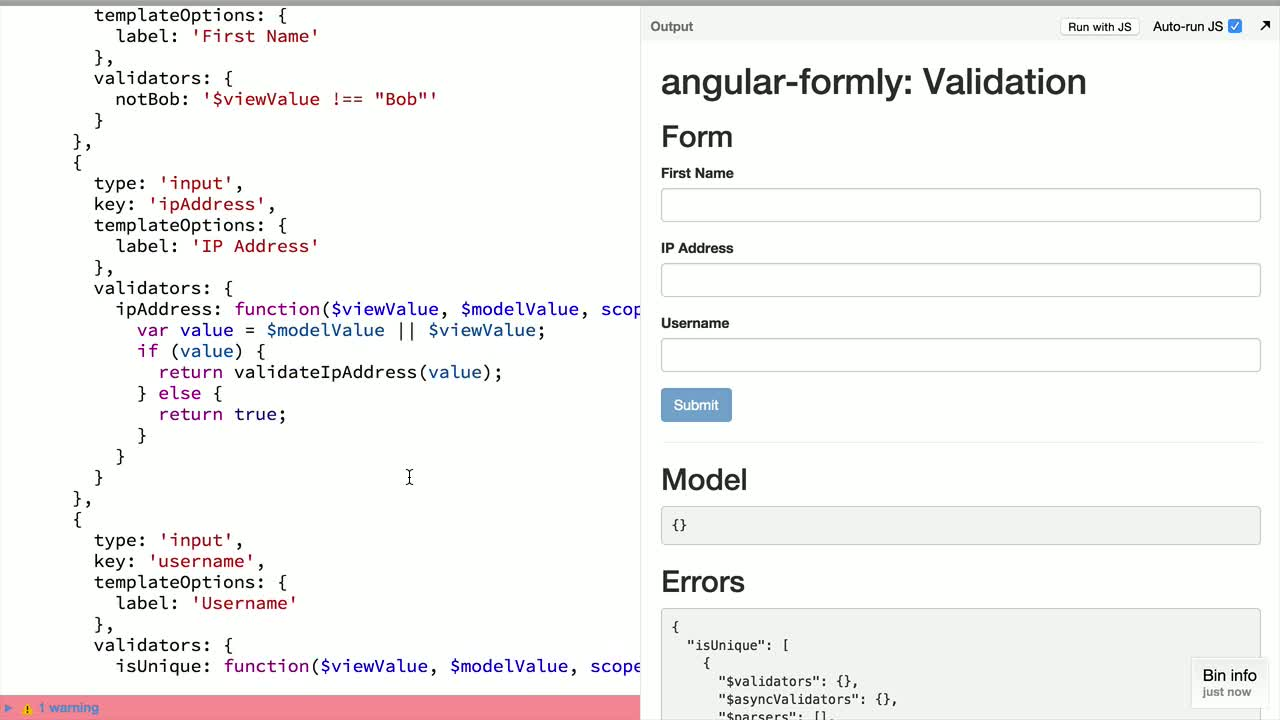 angularjs tutorial about angular-formly: Custom Validation