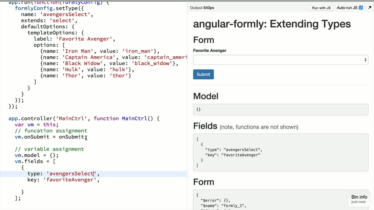 angularjs tutorial about angular-formly: Extending Types