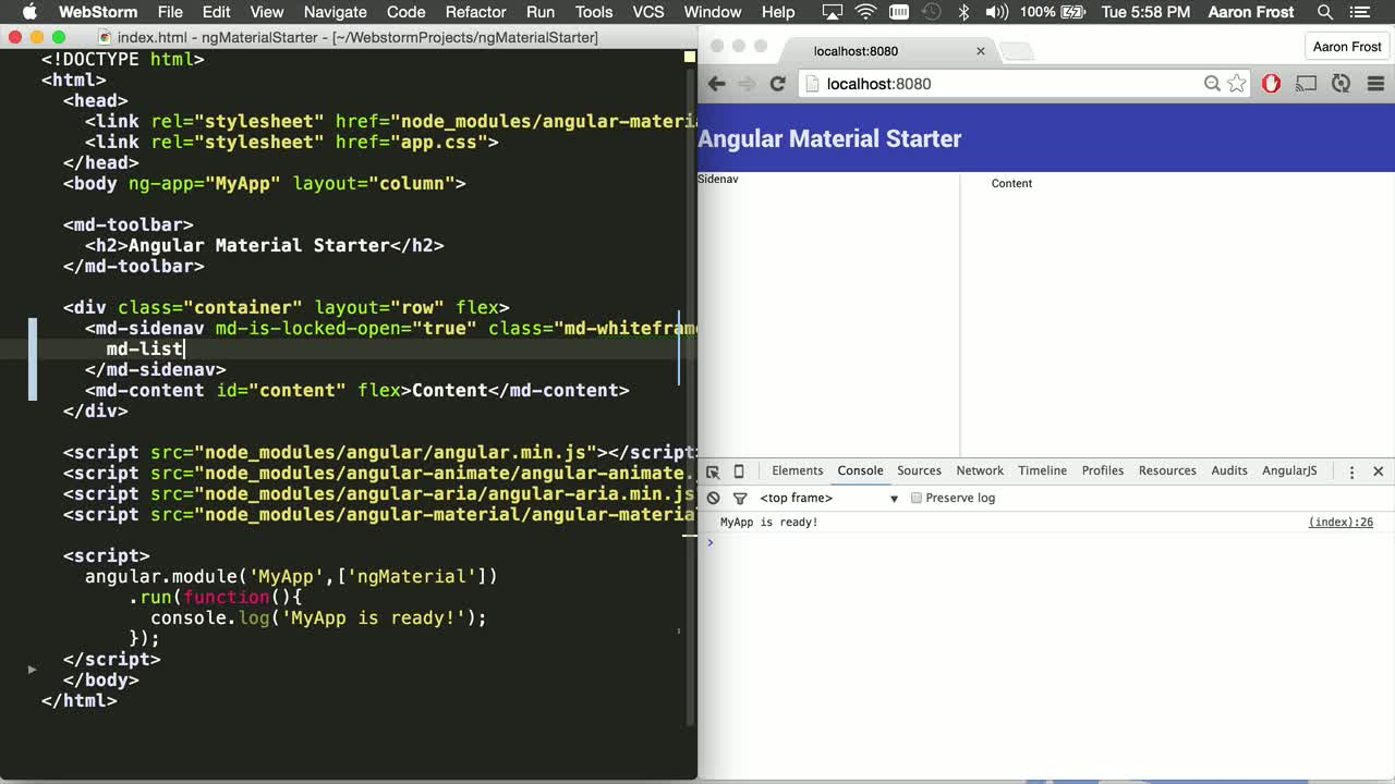 angularjs tutorial about Angular Material: Intro to UI Components