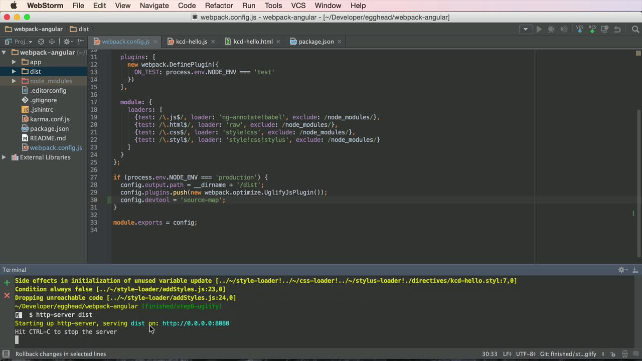 angularjs tutorial about Angular with Webpack - Production Source Maps