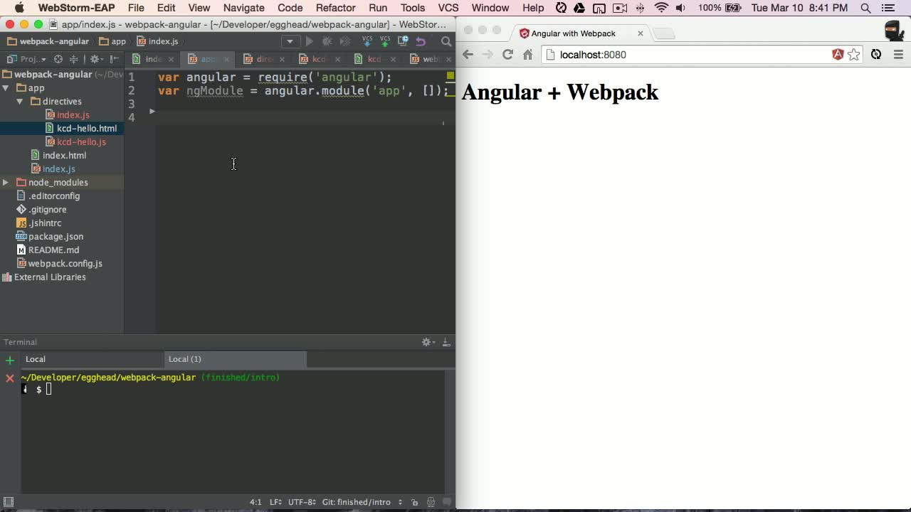 angularjs tutorial about Angular with Webpack - Requiring Directives