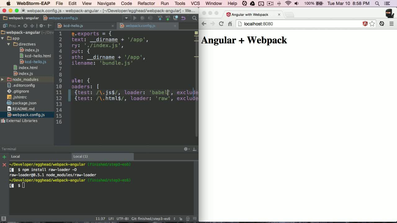 angularjs tutorial about Angular with Webpack - Requiring Templates