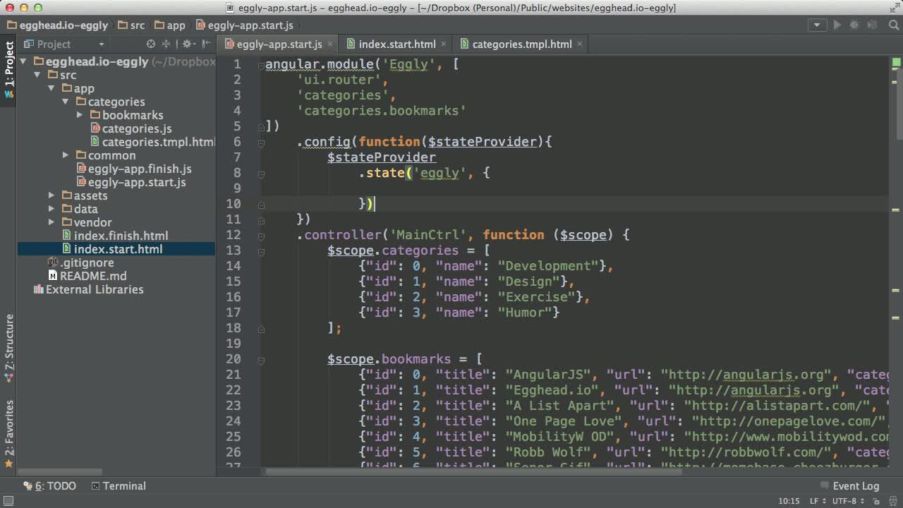 angularjs tutorial about AngularJS Architecture: Basic State with ui-router