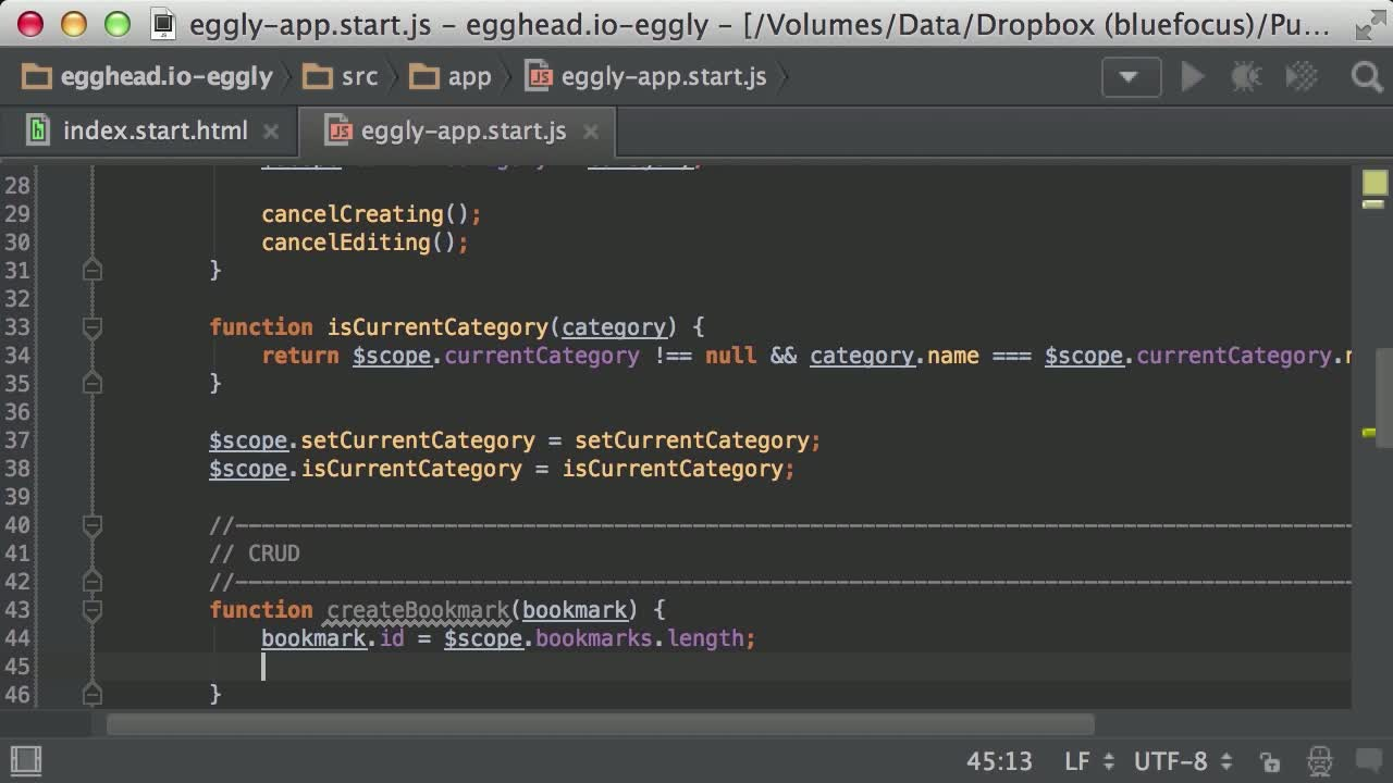 AngularJS tutorial about Building an Angular App: Add a bookmark with ng-submit and ng-model