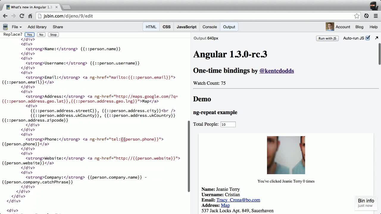 angularjs tutorial about New in Angular 1.3 - Bind Once