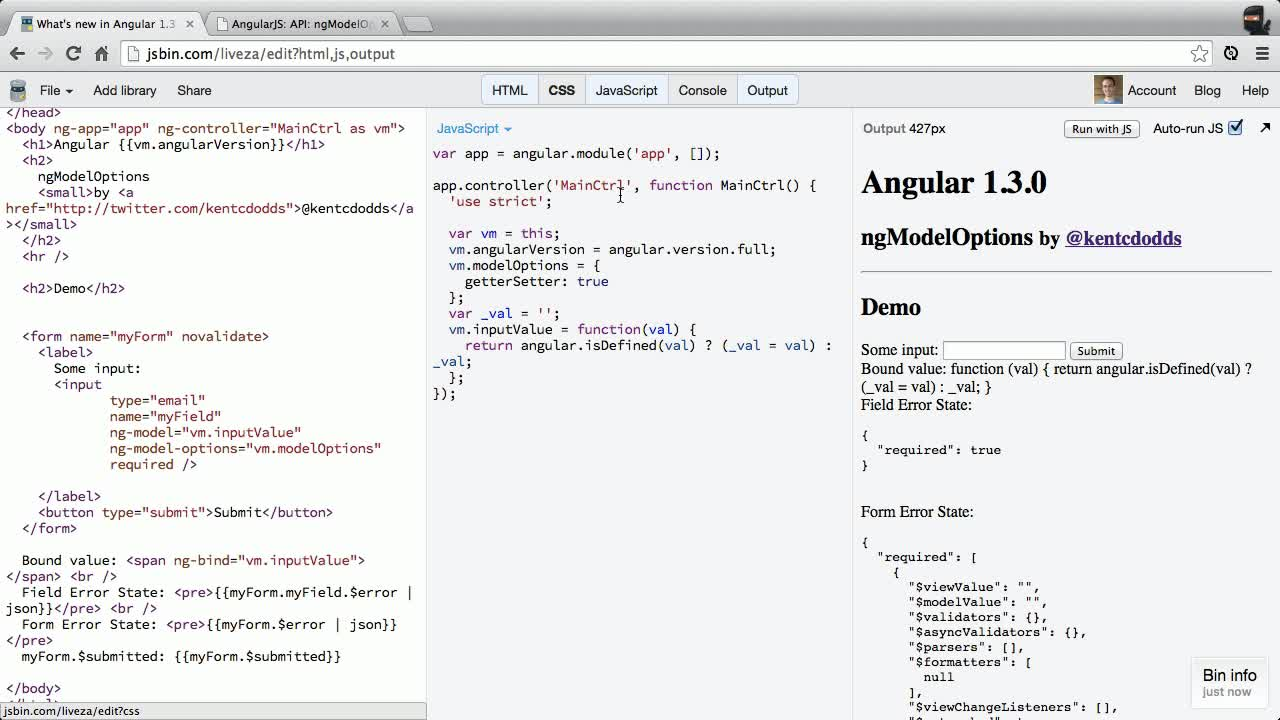 angularjs tutorial about New in Angular 1.3: ng-model-options getters and setters