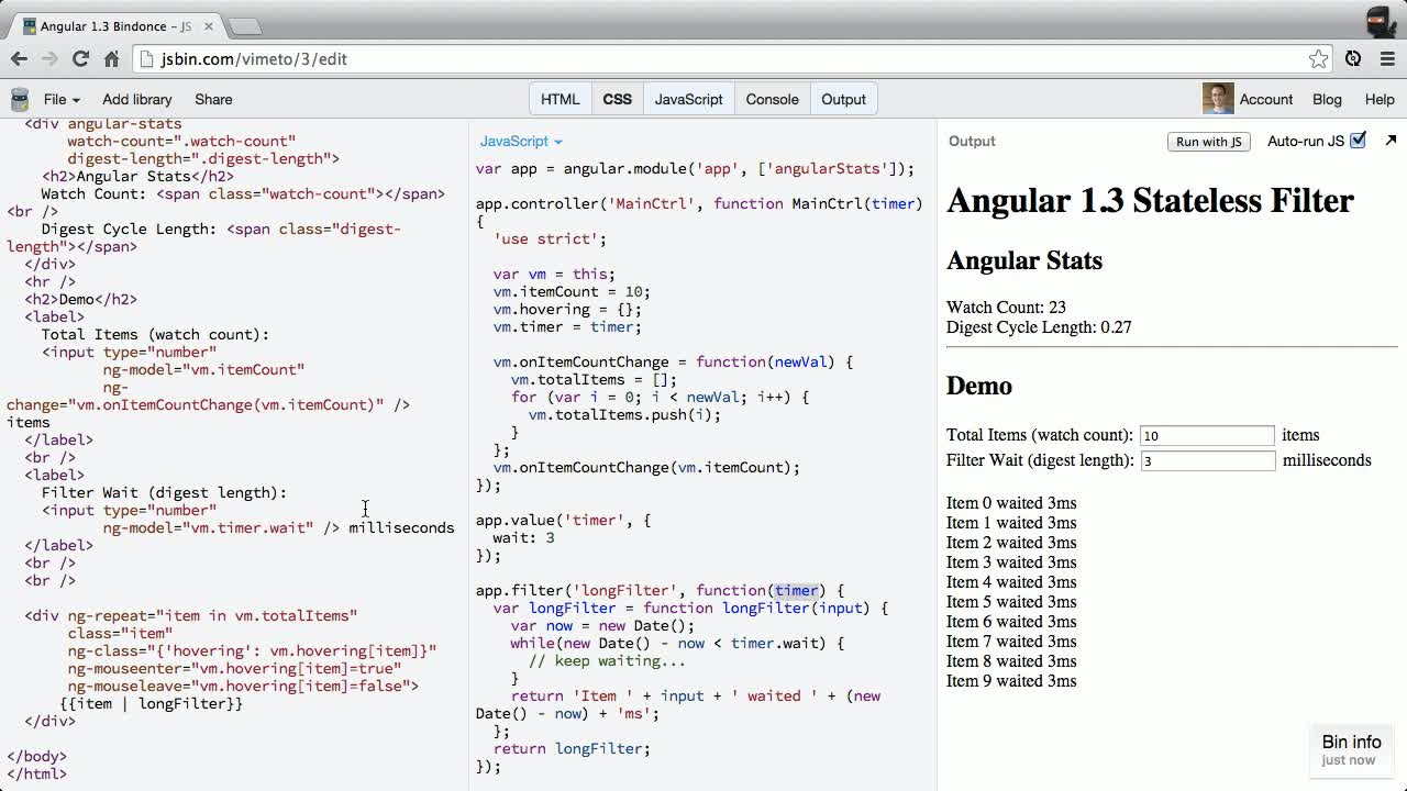 AngularJS tutorial about New in Angular 1.3 - Stateless Filters