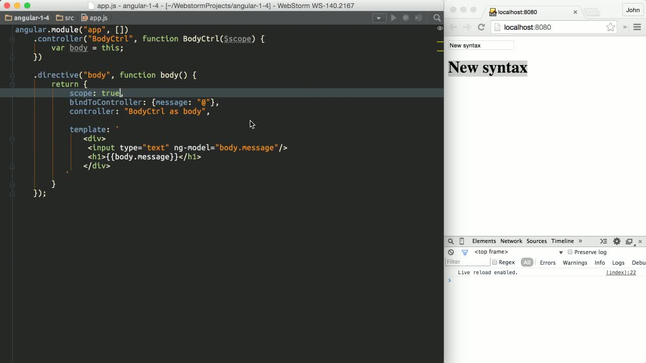 angularjs tutorial about New in Angular 1.4 - New bindToController Syntax