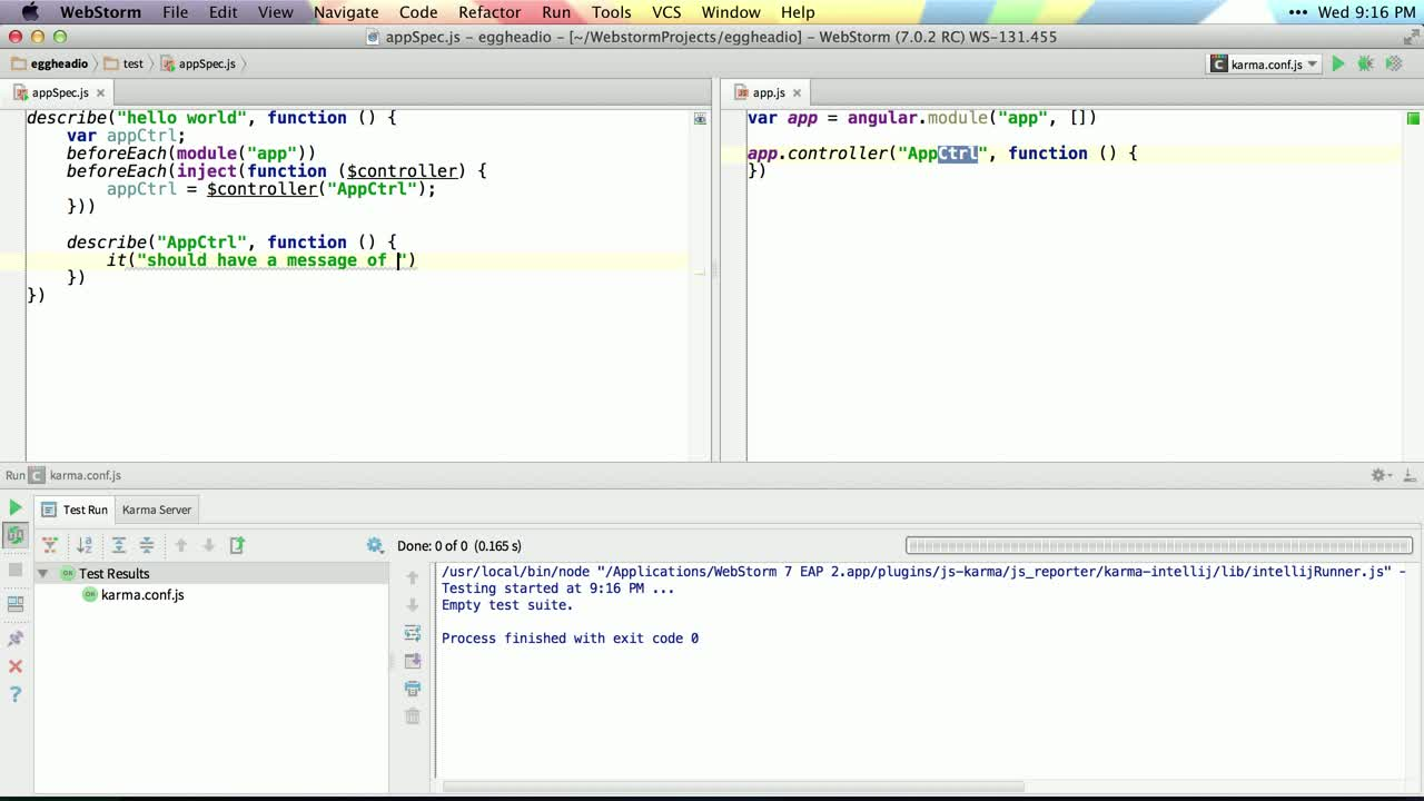 angularjs tutorial about Testing a Controller