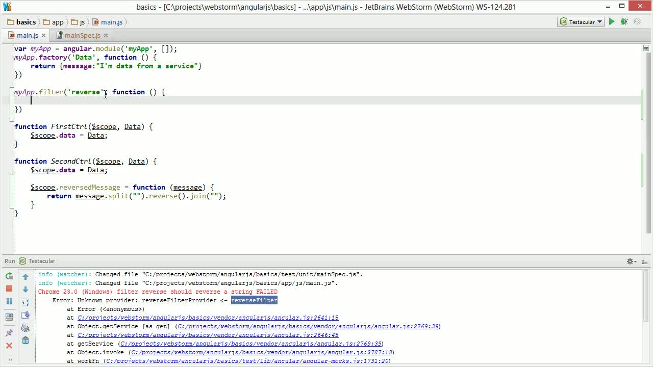 AngularJS tutorial about Unit Testing AngularJS