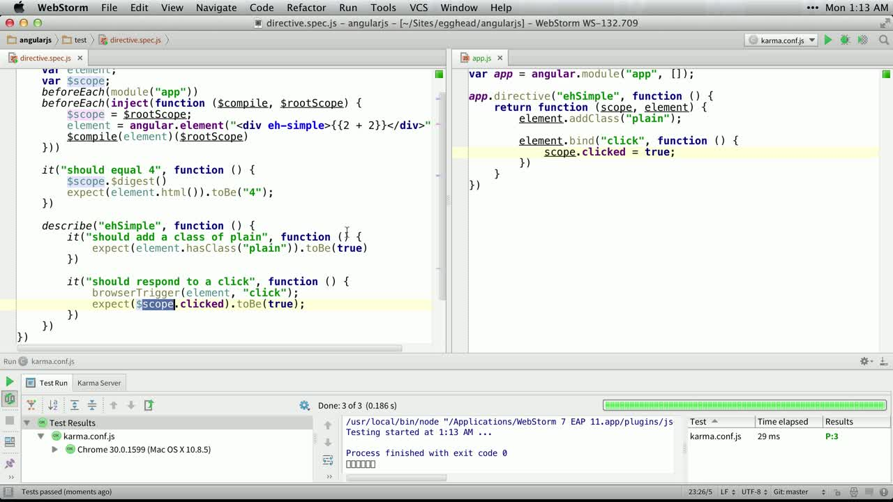 angularjs tutorial about Unit Testing Directive Scope