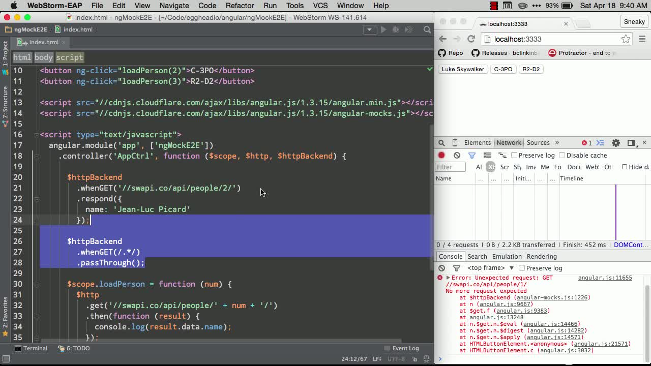 AngularJS tutorial about Using ngMockE2E to mock backend data