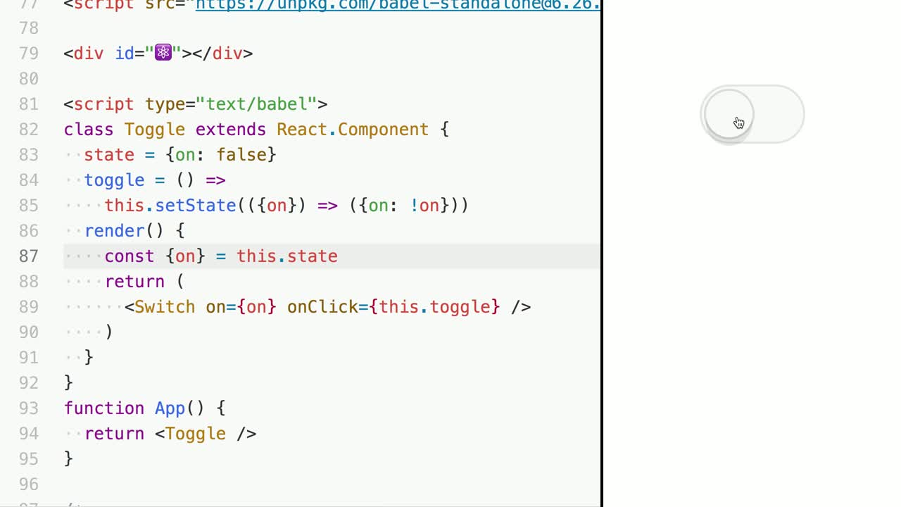 react tutorial about Build a Toggle Component