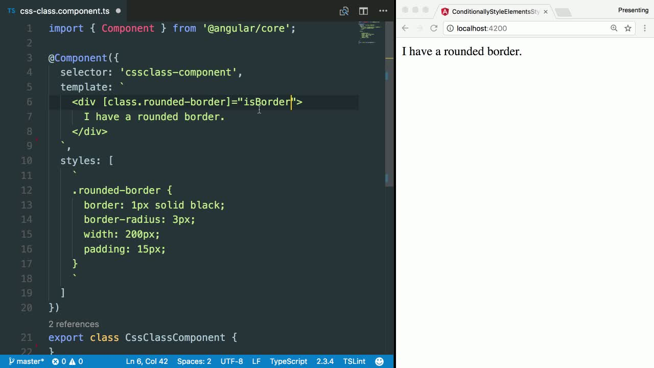 angular2 tutorial about Conditionally add a single CSS class to a DOM element in Angular