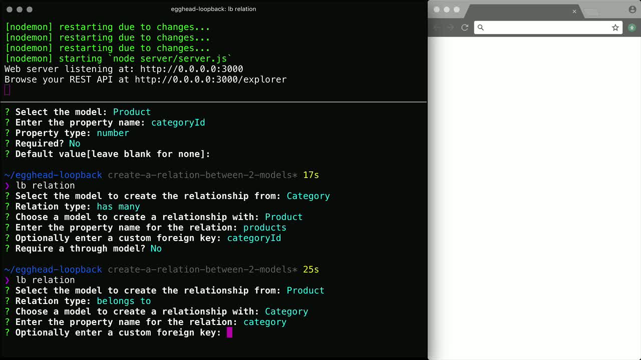 node tutorial about Create a relation between two LoopBack models