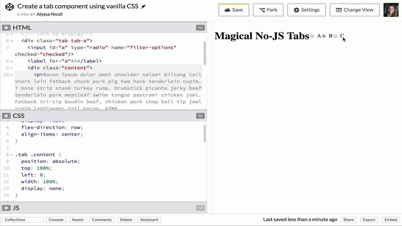 css tutorial about Create a tab component using vanilla CSS