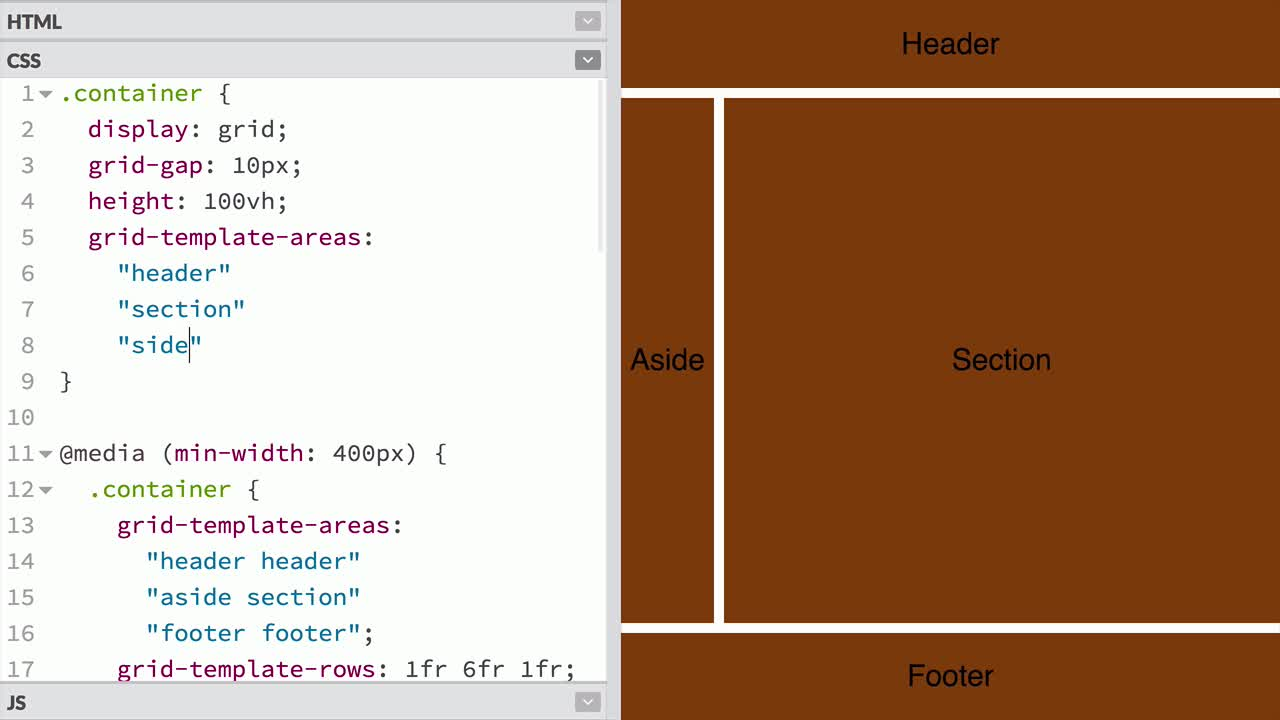 css tutorial about Describe a grid layout using grid-template-areas