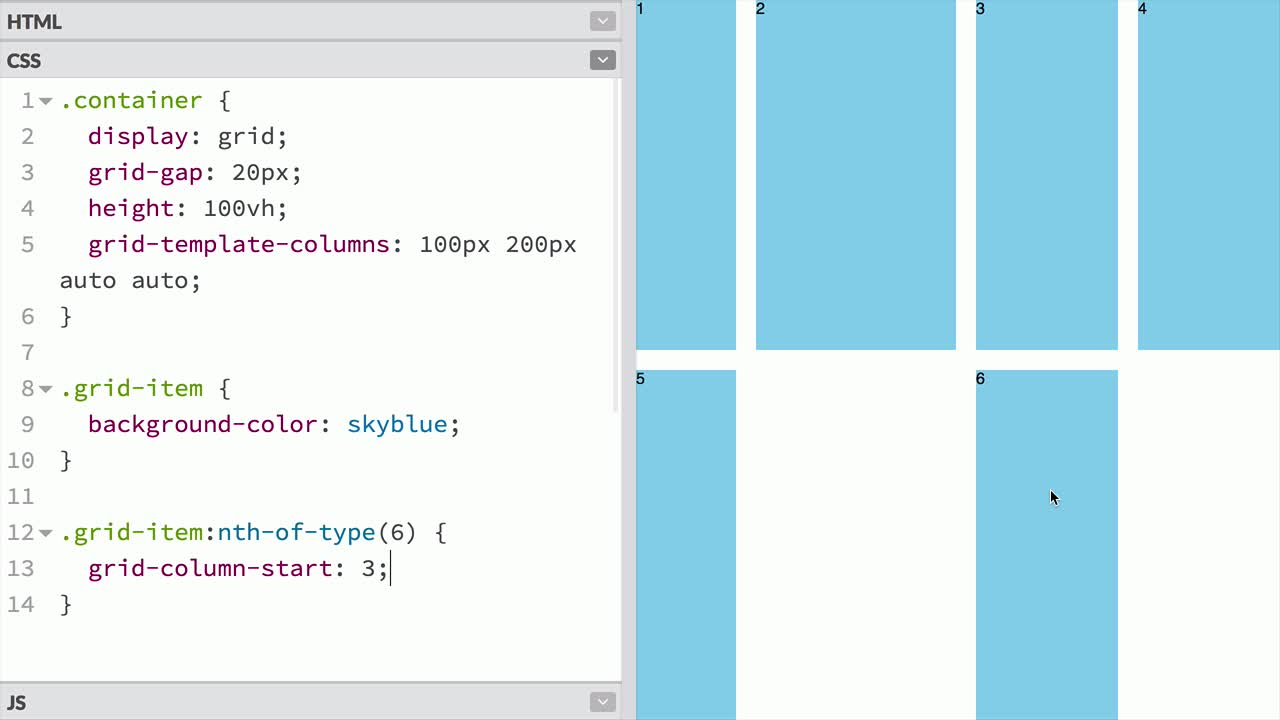 css tutorial about Place grid items on a grid using grid-column and grid-row