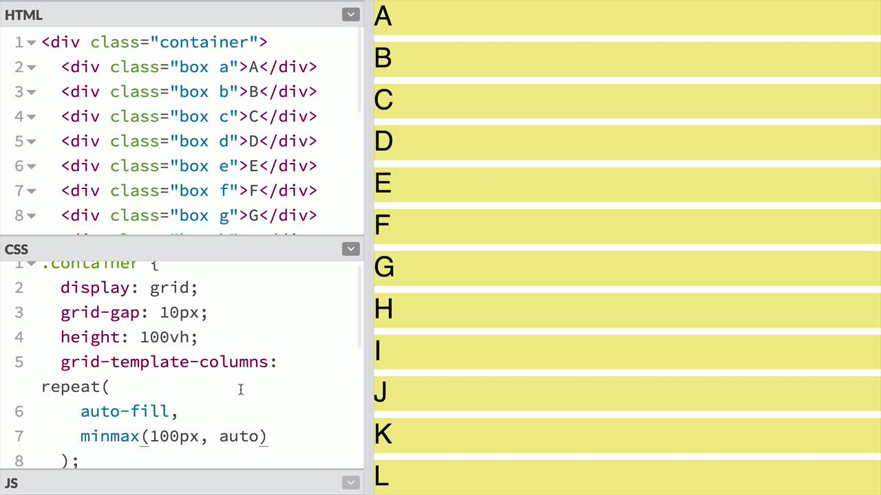 css tutorial about Use auto-fill and auto-fit if the number of repeated grid tracks is not to be def