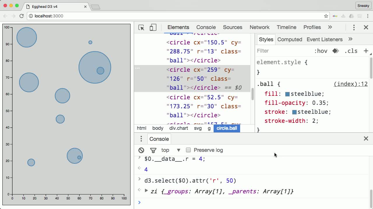 d3 tutorial about Debug D3 v4 with Dev Tools