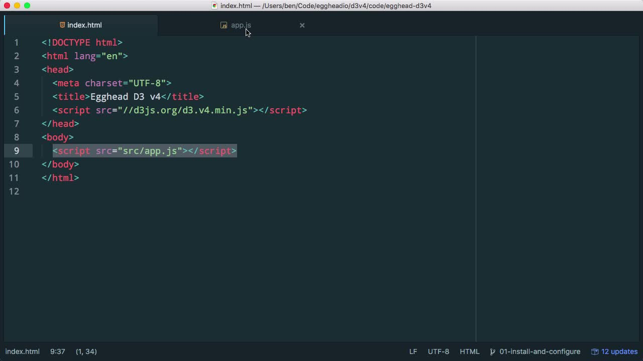 AngularJS tutorial about Install and Configure D3 v4