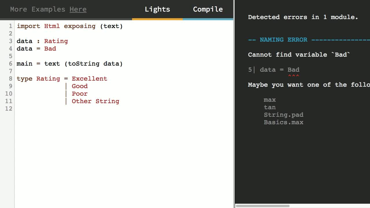 elm tutorial about Model Data with Simple Union Types in Elm