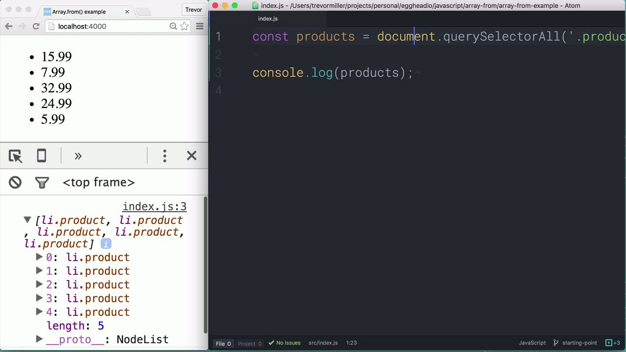 js tutorial about Converting an array-like object into an Array with Array.from()